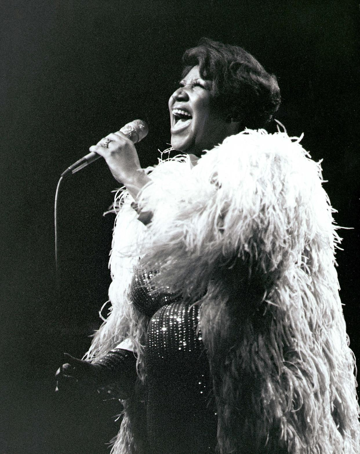 Performing onstage at the New Victoria Theater in the United Kingdom circa 1980.