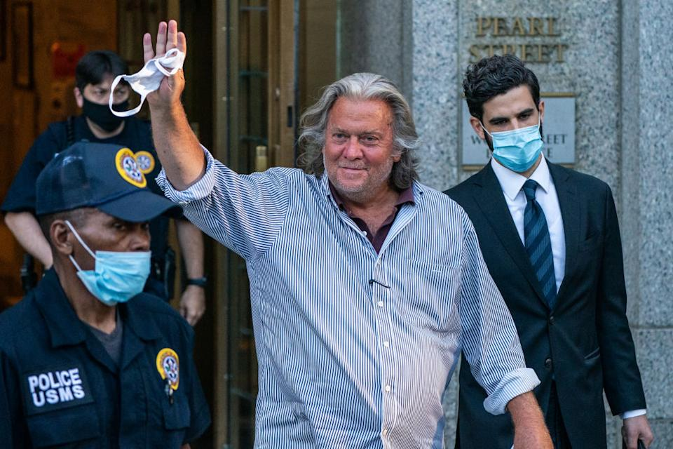 Steve Bannon seen departing from federal court in New York in August. Source: Getty