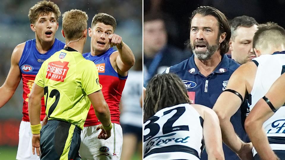Seen here, Lions captain Dayne Zorko chats to an umpire on the left and Geelong coach Chris Scott addresses his players on the right.