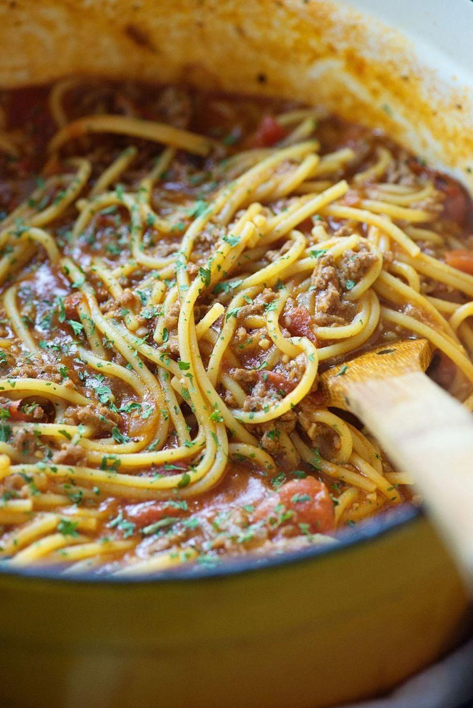 """<p>The less dishes to wash, the better.</p><p>Get the <a href=""""https://www.delish.com/uk/cooking/recipes/a32751555/one-pot-spaghetti-recipe/"""" rel=""""nofollow noopener"""" target=""""_blank"""" data-ylk=""""slk:One-Pot Spaghetti"""" class=""""link rapid-noclick-resp"""">One-Pot Spaghetti</a> recipe.</p>"""