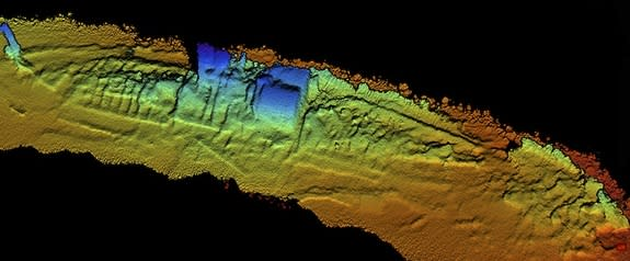 This downward view of the shipwreck SS City of Chester was taken with Coda Octopus' 3D Echoscope sonar. The ship's steam engine and boilers (in blue) are still in place.