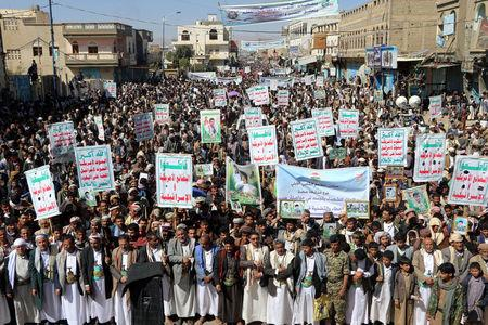 Followers of the Houthi movement rally to mark the 'Martyr Day' in Saada