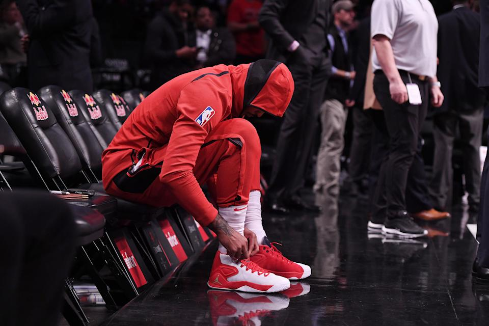 The Houston Rockets have reportedly told Carmelo Anthony that his time with the team will be ending soon. (Matteo Marchi/Getty Images)