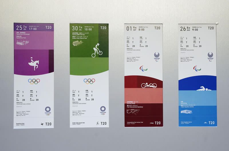 FILE PHOTO: The ticket designs for the 2020 Tokyo Olympics and Paralympics are seen displayed for the media for a photo opportunity in Tokyo, Japan