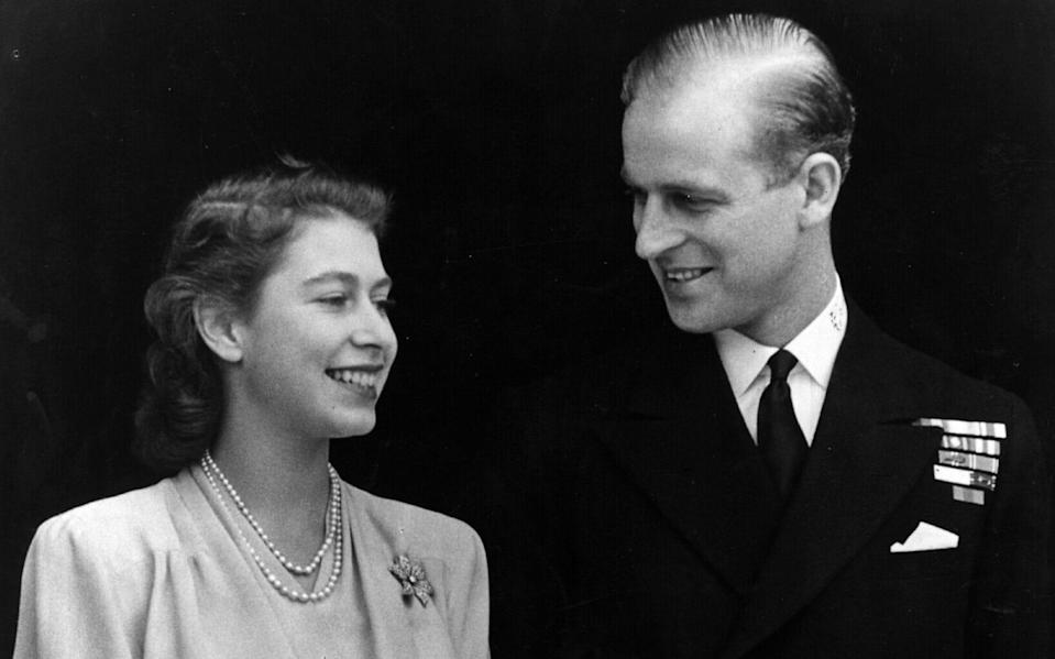 HRH Princess Elizabeth and Philip Mountbatten, Duke of Edinburgh, on the occasion of their engagement at Buckingham Palace in London - Fox Photos