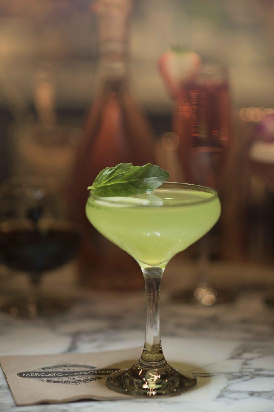 <p><strong>Ingredients</strong></p><p>4 cucumber slices for garnish<br>1.5 oz Bulldog Gin<br>1 oz Caravella Limoncello<br>4 dashes cucumber bitters<br>.5 oz lemon juice<br>3 basil leaves<br></p><p><strong>I</strong><strong>nstructions</strong></p><p>In a mixing glass, muddle the cucumber slices. Add gin, limoncello, cucumber bitters, lemon juice, and basil leaves. Shake and double strain into cocktail coupe.</p><p><em>By Ryan Kelimoff at Mercato della Pescheria at Venetian Las Vegas</em></p>