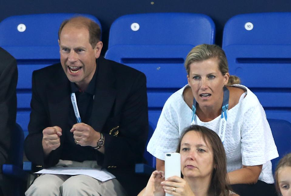 Prince Edward and the Countess of Wessex watch the Women's 400m Freestyle Final, at Tollcross International Swimming Centre, during the 2014 Commonwealth Games in Glasgow.   (Photo by Andrew Milligan/PA Images via Getty Images)