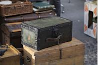 """<p>Antique American trunks in good condition generally might be worth a few hundred dollars. But if you are dreaming of a garage sale super-score, bring home a trunk from the luxury French design house Louis Vuitton. A brass Louis Vuitton Explorer trunk from 1888 <a href=""""https://thehotbid.com/2019/05/31/sold-christies-hong-kong-sold-that-gorgeous-1888-brass-louis-vuitton-trunk-for-scroll-down-to-see/"""" rel=""""nofollow noopener"""" target=""""_blank"""" data-ylk=""""slk:sold at auction"""" class=""""link rapid-noclick-resp"""">sold at auction </a>in 2019 for $159,200.</p>"""