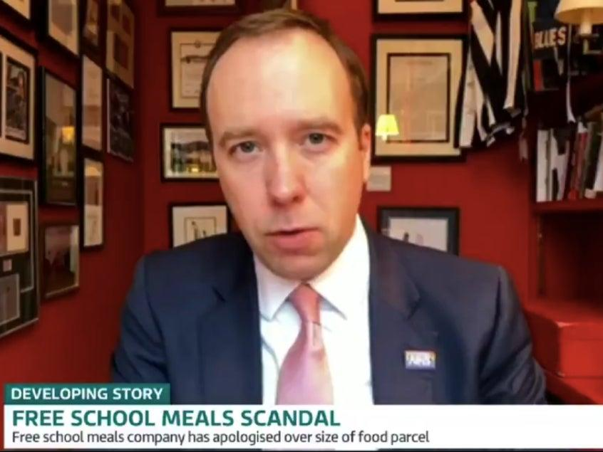 Health secretary Matt Hancock is questioned by Piers Morgan and Susanna Reid on Good Morning Britain about why he voted against free school meals in October 2020 (Good Morning Britain)