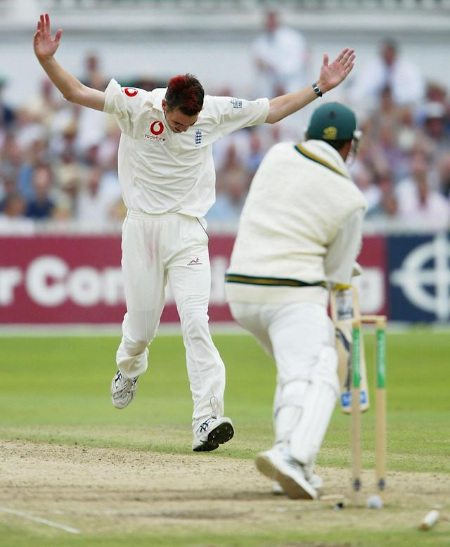 <p>James Anderson celebrates the wicket of South Africa's Jacque Kallis in 2003 </p>