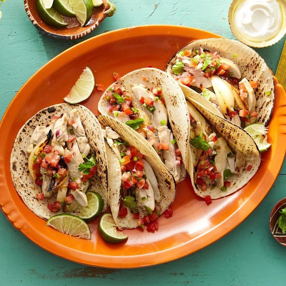 """<p>Tuesday is the easiest excuse for a taco party—and it comes around once a week! A tangy marinade gives these particular tacos a next-level taste that your guests won't soon forget.</p><p><strong><a href=""""https://www.thepioneerwoman.com/food-cooking/recipes/a36078931/pollo-asado-tacos-recipe/"""" rel=""""nofollow noopener"""" target=""""_blank"""" data-ylk=""""slk:Get the recipe"""" class=""""link rapid-noclick-resp"""">Get the recipe</a></strong>.</p><p><strong><a class=""""link rapid-noclick-resp"""" href=""""https://go.redirectingat.com?id=74968X1596630&url=https%3A%2F%2Fwww.walmart.com%2Fbrowse%2Fhome%2Fserveware%2Fthe-pioneer-woman%2F4044_623679_639999_2347672&sref=https%3A%2F%2Fwww.thepioneerwoman.com%2Fjust-for-fun%2Fg36599700%2Fsummer-party-ideas%2F"""" rel=""""nofollow noopener"""" target=""""_blank"""" data-ylk=""""slk:SHOP PLATTERS"""">SHOP PLATTERS</a></strong></p>"""