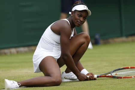 Sloane Stephens of the U.S. reacts during her women's singles tennis match against Maria Kirilenko of Russia at the Wimbledon Tennis Championships, in London