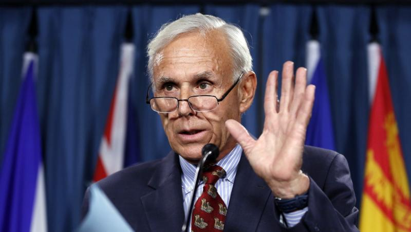 Bayne, the lawyer for Senator Duffy, speaks during a news conference on Parliament Hill in Ottawa