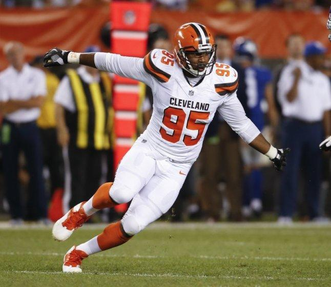 Browns defensive end Myles Garrett in action against the New York Giants during a preseason game Aug. 21.