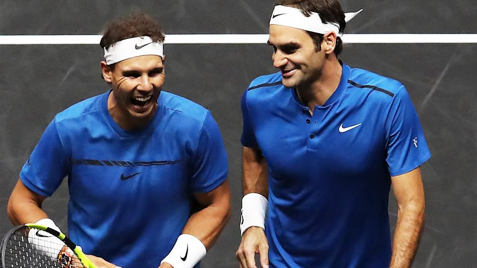 Rafa Nadal and Roger Federer, pictured here playing doubles at the Laver Cup in 2017.