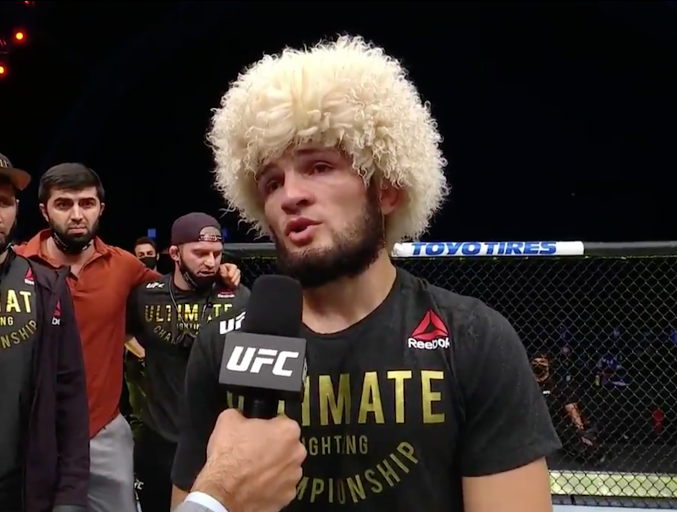 Khabib Nurmagomedov defeated Justin Gaethje at UFC 254 (ESPN)