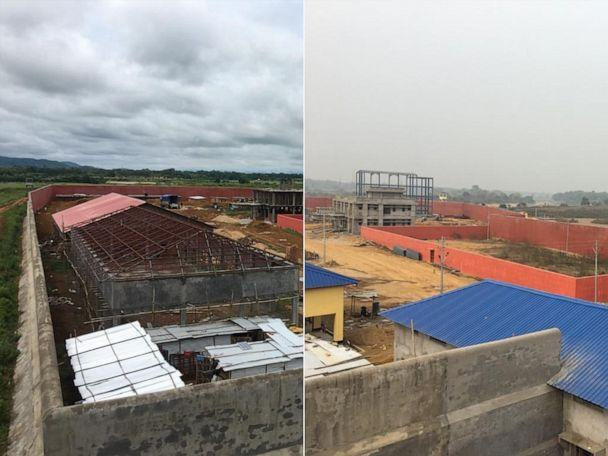 PHOTO: The under construction immigration camp in Goalpara, Assam, in September 2019 (Left) and January 2020 (Right). It is expected to house those left off the National Register of Citizens. (Sadiq Naqvi/ABC News)