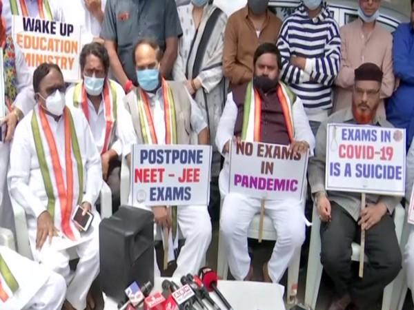Protest held by TPCC members against conducting NEET-JEE exams in Hyderabad. [Photo/ANI]