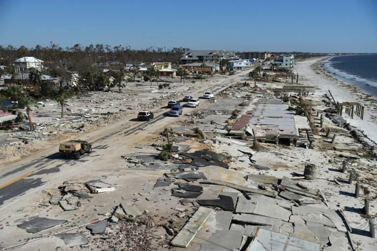 View of the damage caused by Hurricane Michael in Mexico Beach, Florida -- the death toll is now at 17 and officials warn it could rise