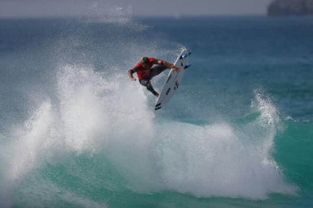 Italo Ferreira from Brazil surfs a wave during the WSL championship at Supertubo beach in Peniche