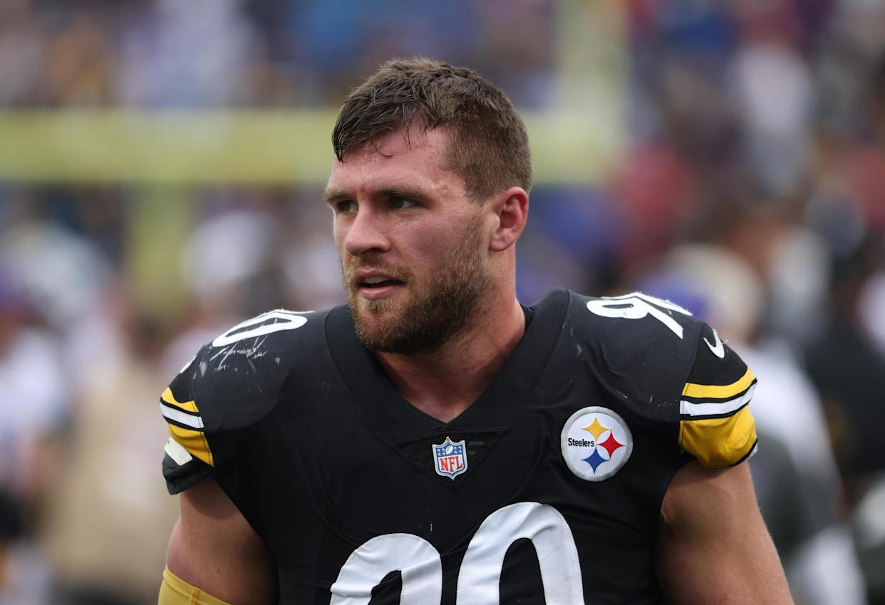 ORCHARD PARK, NY - SEPTEMBER 12: T.J. Watt #90 of the Pittsburgh Steelers walks off the field after a game against the Buffalo Bills at Highmark Stadium on September 12, 2021 in Orchard Park, New York. (Photo by Timothy T Ludwig/Getty Images)