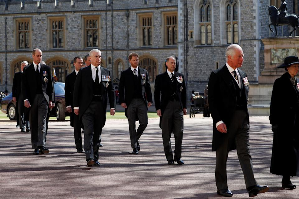Prince Harry Prince William and Prince Charles at Philip's funeral