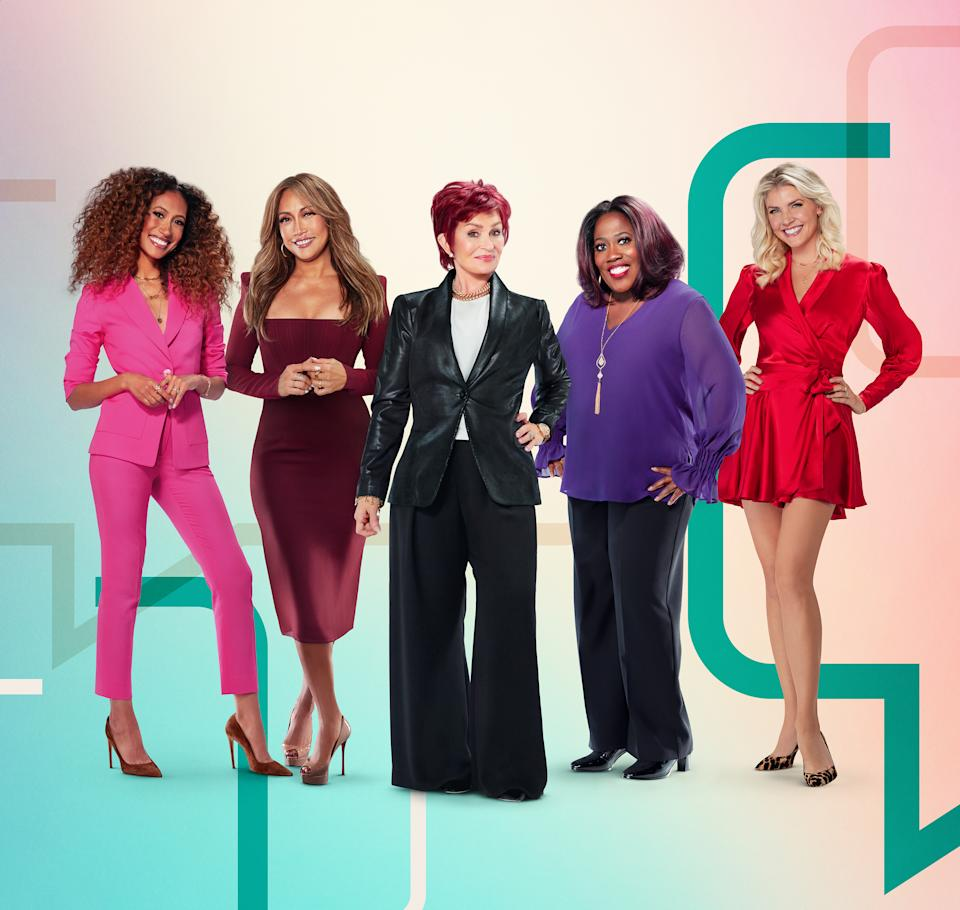 LOS ANGELES - DECEMBER 23: Pictured L-R: Elaine Welteroth, Carrie Ann Inaba, Sharon Osbourne, Sheryl Underwood and Amanda Kloots, hosts of the CBS series THE TALK, airing Weekdays 2:00-3:00 PM, ET; 1:00-2:00 PM, PT on the CBS Television Network. (Photo by Randee St. Nicholas/CBS via Getty Images)