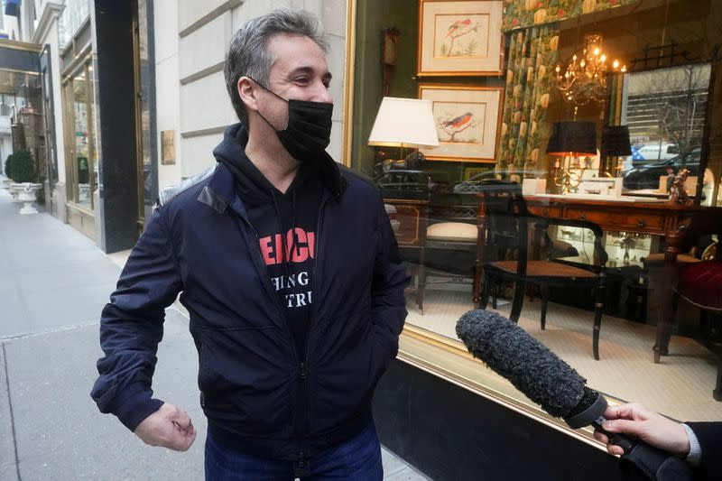 FILE PHOTO: Michael Cohen, a former lawyer to former U.S. President Donald Trump walks out of his apartment in New York City