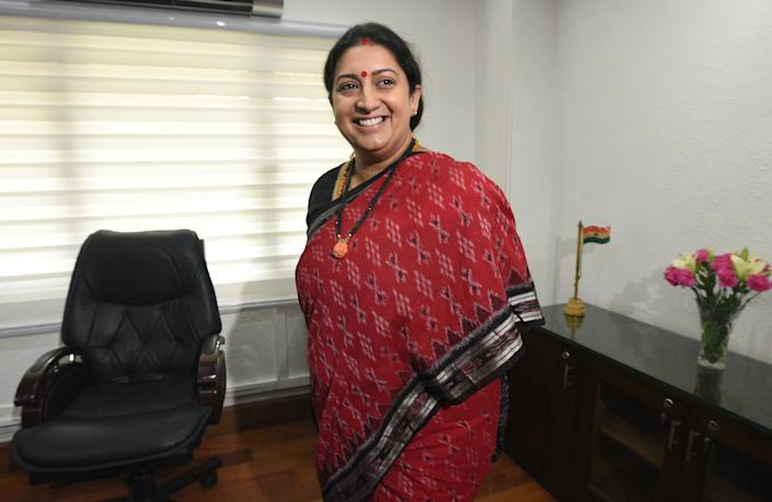 NEW DELHI, INDIA - JUNE 3: Smriti Irani assumes charge of the Ministry of Women and Child Development, at Shastri Bhawan on June 3, 2019 in New Delhi, India. (Photo by Sonu Mehta/Hindustan Times via Getty Images)