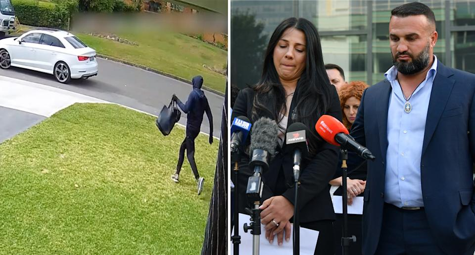 The thief (left) and Leila Abdallah and Danny Abdallah (right) after the driver who killed their three children was sentenced in April. Source: NSW Police/AAP