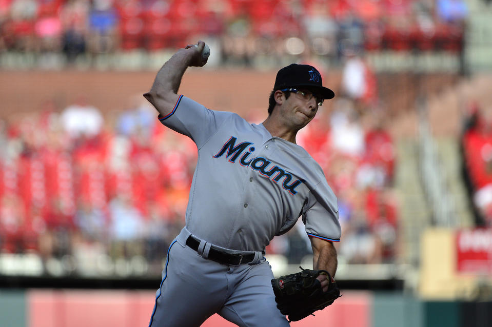 Jun 20, 2019; St. Louis, MO, USA; Miami Marlins starting pitcher Zac Gallen (52) pitches during the first inning against the St. Louis Cardinals at Busch Stadium. Mandatory Credit: Jeff Curry-USA TODAY Sports