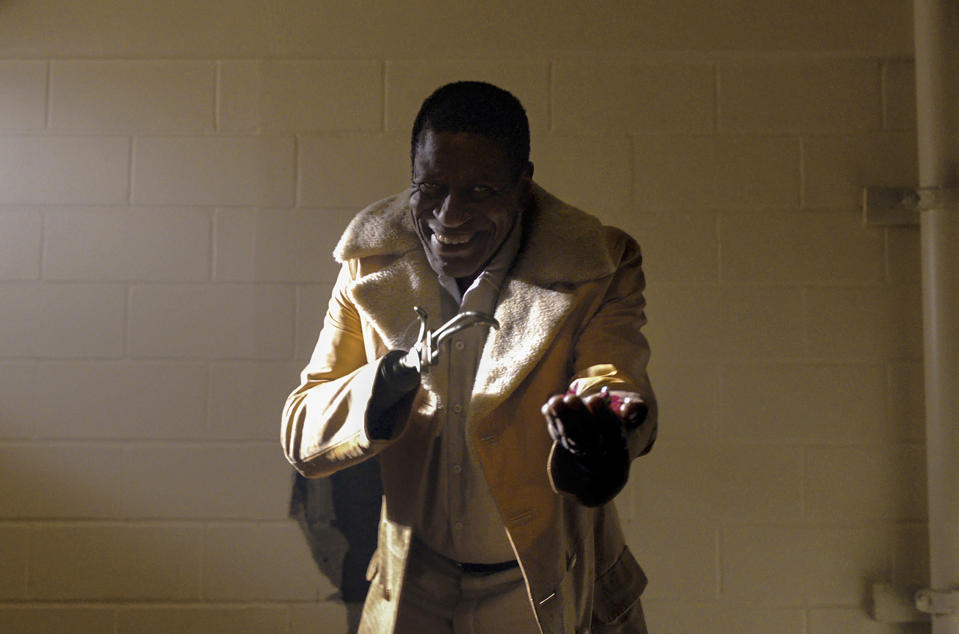 """This image released by Universal Pictures shows Michael Hargrove as Sherman Fields in a scene from """"Candyman,"""" directed by Nia DaCosta. (Universal Pictures and MGM Pictures via AP)"""