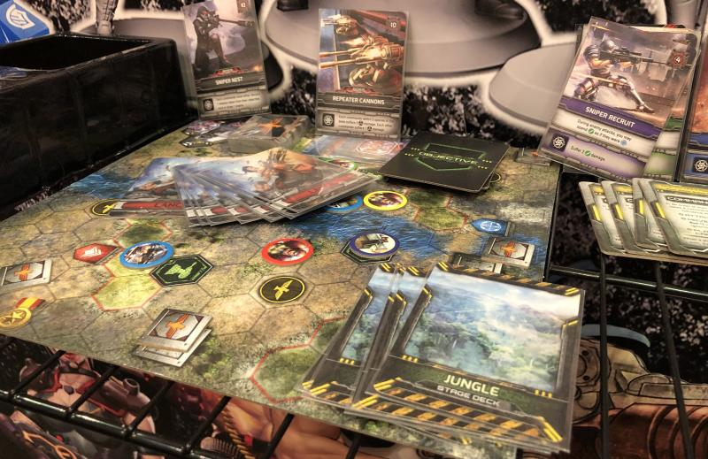 A view of the board for Kess's 'Contra' tabletop game (Photo: Ethan Alter)