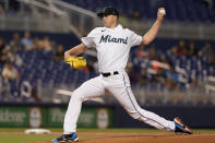 Miami Marlins starting pitcher Trevor Rogers throws during the first inning of a baseball game against the Toronto Blue Jays, Wednesday, June 23, 2021, in Miami. (AP Photo/Marta Lavandier)