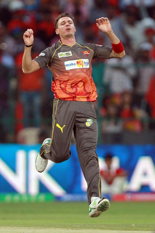 Dale Steyn reacts to a good delivery during match 9 of the Pepsi Indian Premier League between The Royal Challengers Bangalore and The Sunrisers Hyderabad held at the M. Chinnaswamy Stadium, Bengaluru on the 9th April 2013. (BCCI)