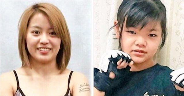 """Momoko Yamazaki (left), a 24-year-old MMA fighter, was choked out by a 12-year-old known as <a class=""""link rapid-noclick-resp"""" href=""""/soccer/players/momo"""" data-ylk=""""slk:Momo"""">Momo</a> (R)"""