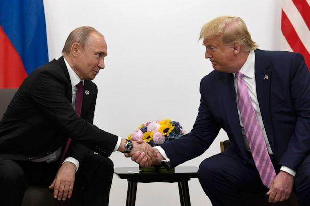 PHOTO: President Donald Trump, right, meets with Russian President Vladimir Putin during a bilateral meeting on the sidelines of the G-20 summit in Osaka, Japan, Friday, June 28, 2019. (AP Photo/Susan Walsh)