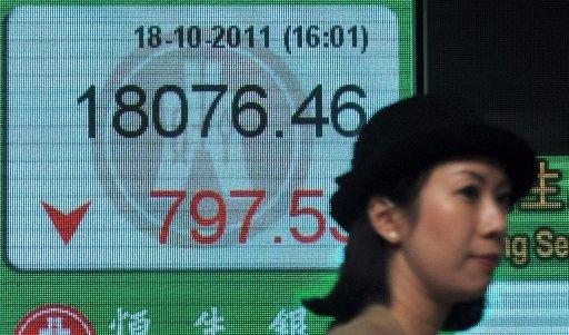 A woman walks past a display board showing the Hang Seng stock market index in Hong Kong