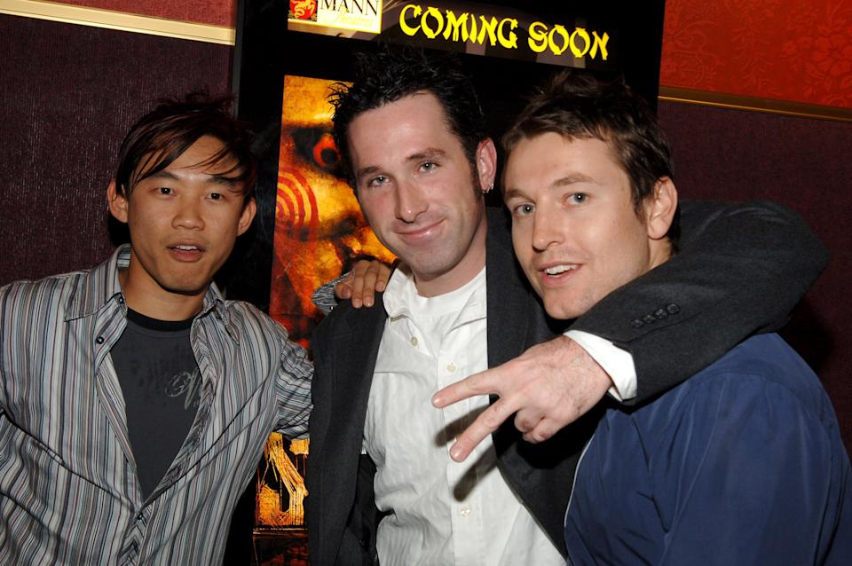 James Wan, Darren Lynn Bousman and Leigh Whannell attend a cast and crew screening for 'Saw II'.  (Photo by J. Sciulli / WireImage for Lionsgate)