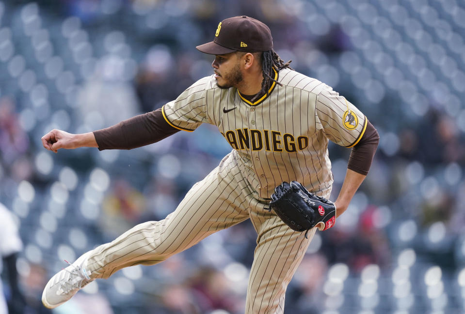 San Diego Padres starting pitcher Dinelson Lamet works against the Colorado Rockies during the first inning of a baseball game Tuesday, May 11, 2021, in Denver. (AP Photo/David Zalubowski)