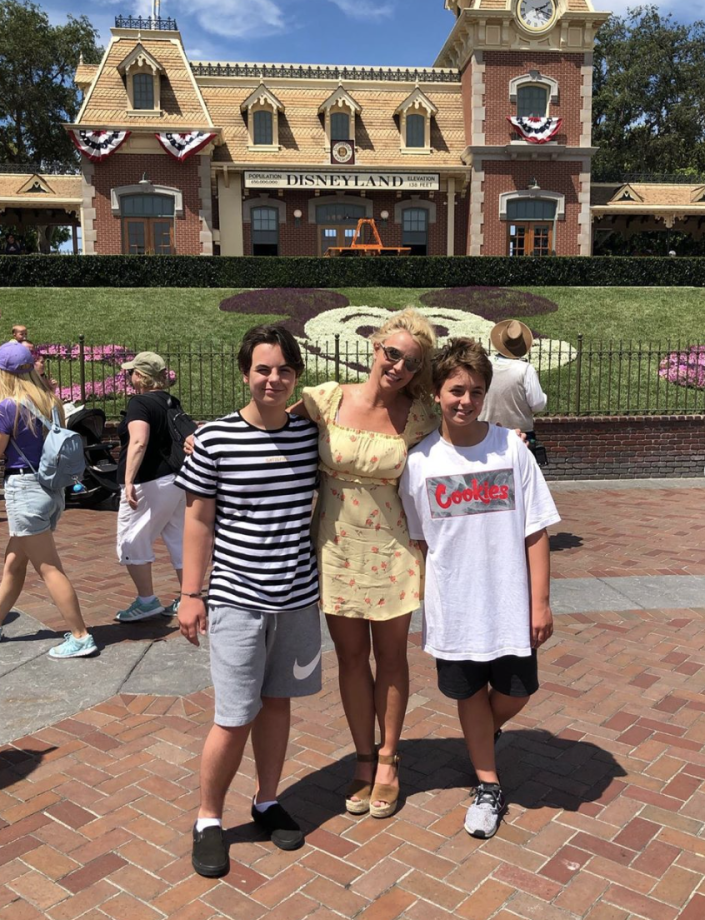 "<p>Sean and Jayden James are growing up quickly and often featured on Britney's <a href=""https://www.instagram.com/p/B0xVn0VAXBZ/"" rel=""nofollow noopener"" target=""_blank"" data-ylk=""slk:social media"" class=""link rapid-noclick-resp"">social media</a>. The boys went to Disneyland with their mom in August 2019. </p>"