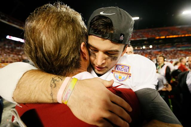 MIAMI GARDENS, FL - JANUARY 07: AJ McCarron #10 of the Alabama Crimson Tide head coach Nick Saban after defeating the Notre Dame Fighting Irish by a score of 42-14 to win the 2013 Discover BCS National Championship game at Sun Life Stadium on January 7, 2013 in Miami Gardens, Florida. (Photo by Kevin C. Cox/Getty Images)