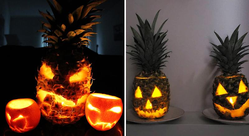 People Carving Pineapples Not Pumpkins For Halloween