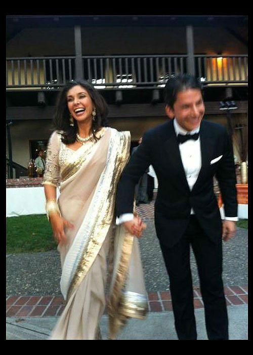 <b>6. Lisa Ray: </b><br>Recently married Lisa wore a crystal-encrusted gown by close friend and designer Wendell Rodricks, while for the reception she was seen in an exquisite custom-made Satya Paul sari.