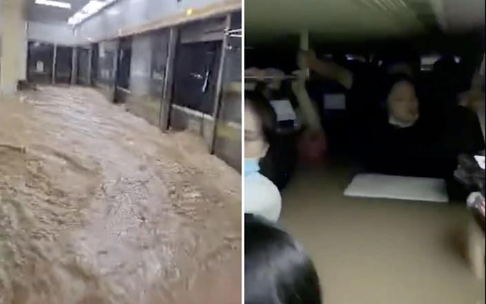Passengers are trapped in chest-high water as a flash flood swamps a Chinese subway