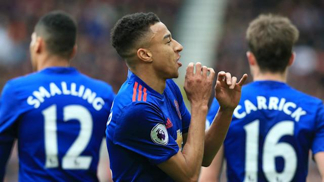 Marouane Fellaini and Jesse Lingard secured a landmark Premier League victory for Manchester United against Middlesbrough.