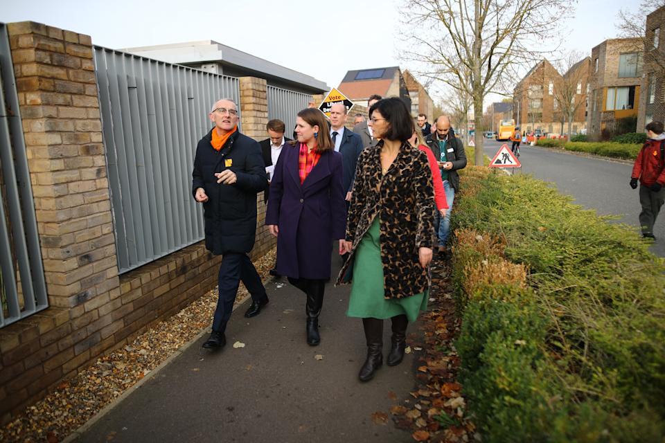 Liberal Democrats leader Jo Swinson on a walkabout in Cambridge, whilst campaigning for the General Election. PA Photo. Picture date: Wednesday November 20, 2019. See PA story POLITICS Election. Photo credit should read: Aaron Chown/PA Wire