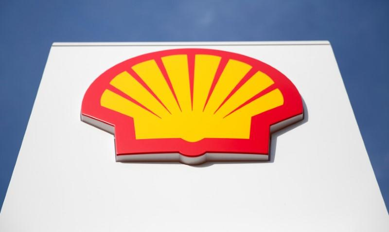 FILE PHOTO: A logo for Shell is seen on a garage forecourt in central London