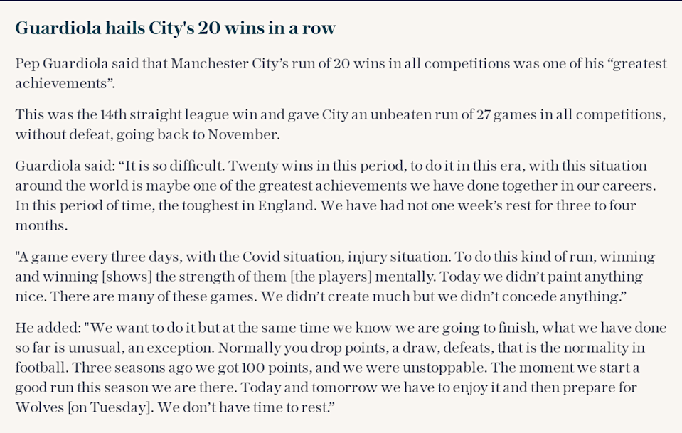 Guardiola says this is his greatest achievement