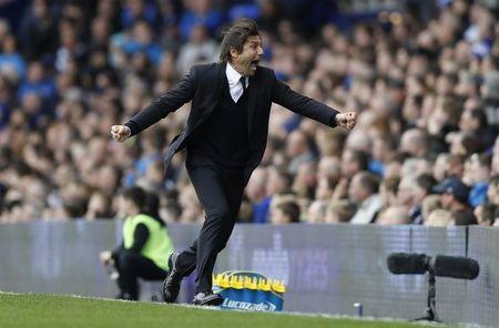 Chelsea manager Antonio Conte celebrates after Gary Cahill(not pictured) scores their second goal